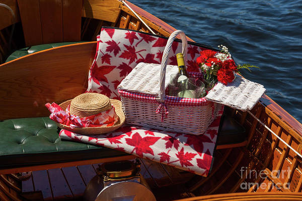 Photograph - Picnic Basket On A Wooden Boat by Les Palenik