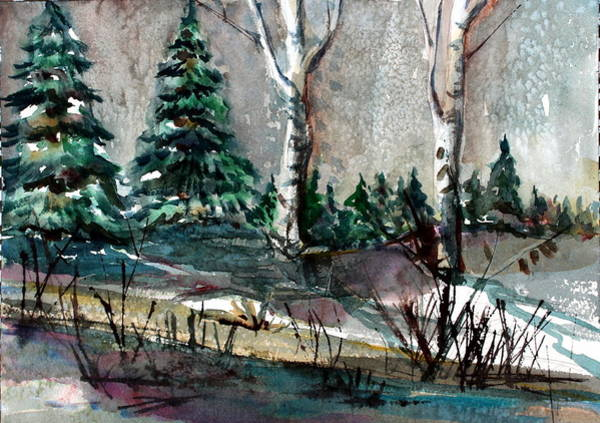 Wall Art - Painting - Pine Forest by Mindy Newman