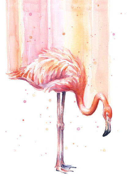 Tropical Bird Painting - Pink Flamingo - Facing Right by Olga Shvartsur
