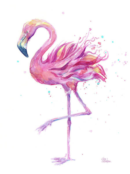 Tropical Bird Wall Art - Painting - Pink Flamingo Watercolor by Olga Shvartsur