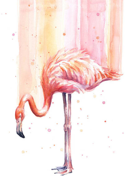 Exotic Wall Art - Painting - Pink Flamingo Watercolor Rain by Olga Shvartsur