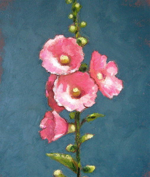 Wall Art - Pastel - Pink Hollyhocks by Joyce Geleynse