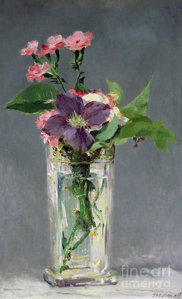 Manet Wall Art - Painting - Pinks And Clematis In A Crystal Vase by Edouard Manet