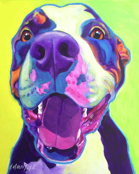 Wall Art - Painting - Pit Bull - Mayhem by Alicia VanNoy Call