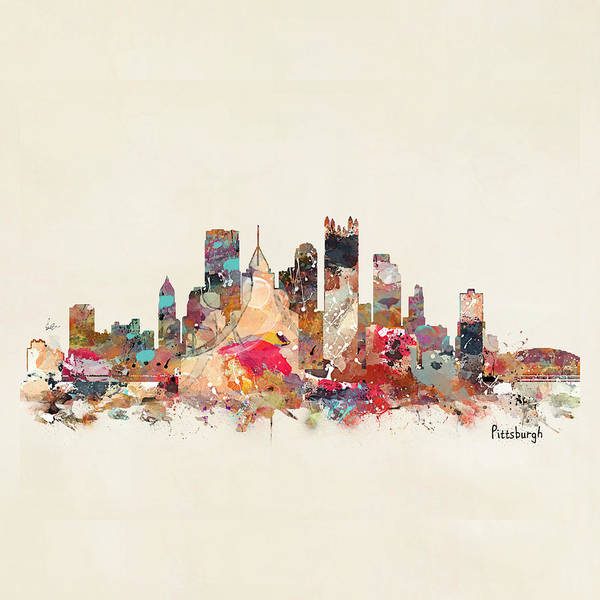 Wall Art - Painting - Pittsburgh City Skyline by Bri Buckley