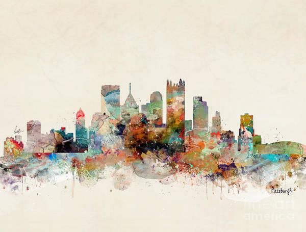 Office Decor Painting - Pittsburgh Pennsylvania Skyline by Bri Buckley