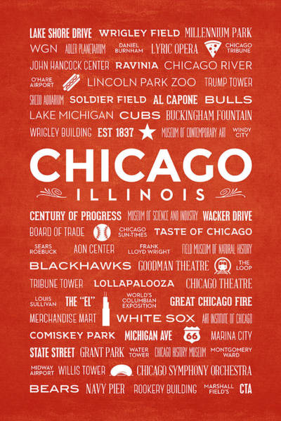 Digital Art - Places Of Chicago On Orange Chalkboard by Christopher Arndt