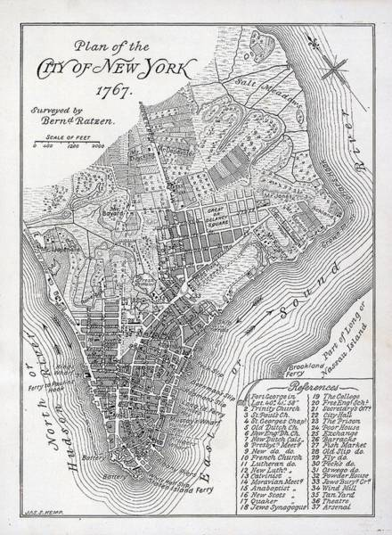 Map Wall Art - Painting - Plan Of The City Of New York by American School