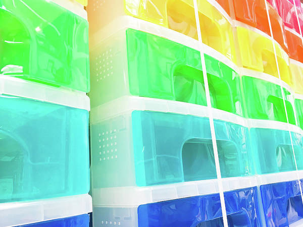 Cabinet Photograph - Plastic Drawers by Tom Gowanlock