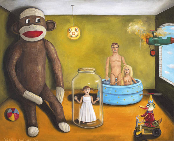 Sock Monkey Painting - Playroom Nightmare 2 by Leah Saulnier The Painting Maniac