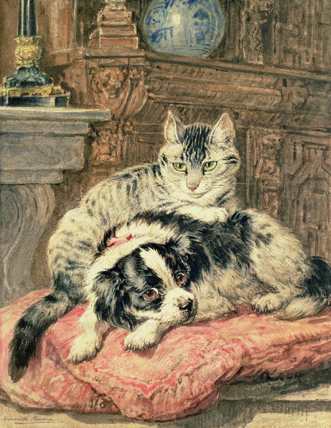 Cats And Dogs Painting - Playtime by Henriette Ronner-Knip
