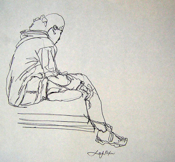 Spontaneous Drawing - Pondering by Lee Nixon