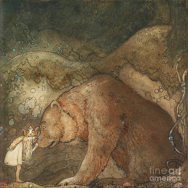 Painting - Poor Little Bear by John Bauer