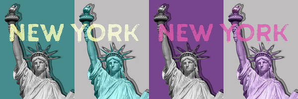 Wall Art - Digital Art - Pop Art Statue Of Liberty - New York New York - Panoramic by Melanie Viola