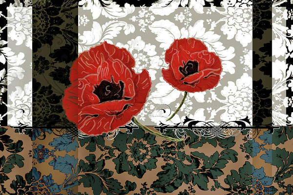 Red Poppy Mixed Media - Poppies 5 by Priscilla Huber