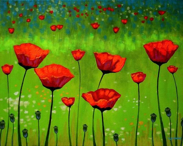 Wall Art - Painting - Poppy Cluster I by John  Nolan