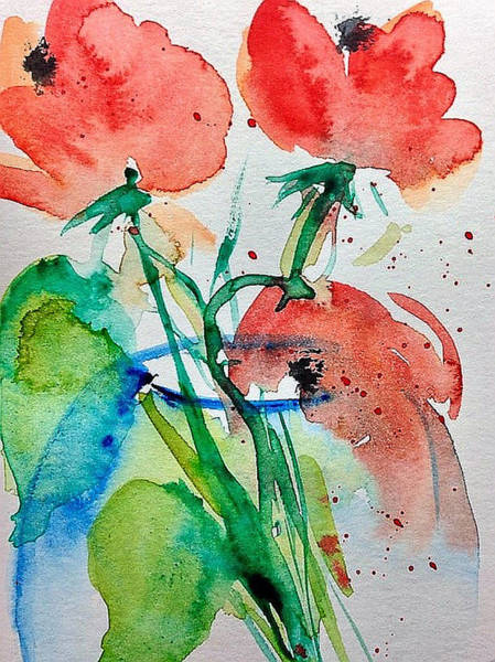 Poppie Painting - Poppy Flowers In The Vase 1 by Britta Zehm