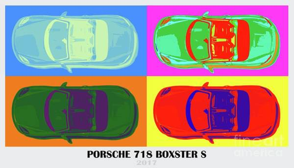 Style Digital Art - Porsche 718 Boxster S, Warhol Style, Office Decor by Drawspots Illustrations