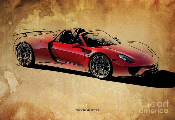 Garage Decor Mixed Media - Porsche 918 Spyder by Drawspots Illustrations