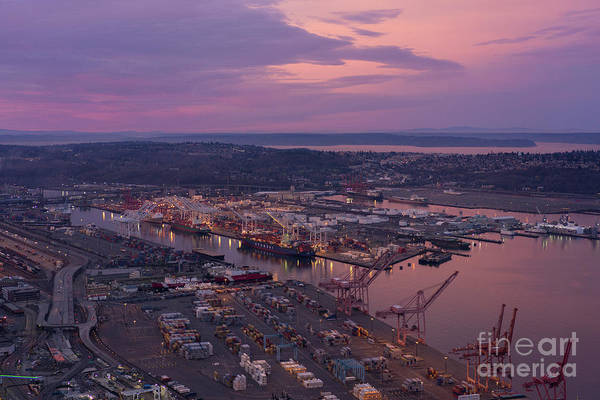 Seattle Skyline Photograph - Port Of Seattle Sunrise by Mike Reid