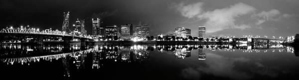 Portland Skyline Black And White Art Print