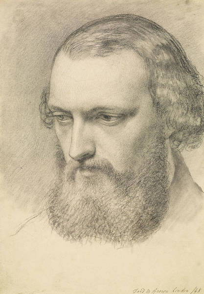 Ford Drawing - Portrait - Head Study Of Daniel Casey by Ford Madox Brown
