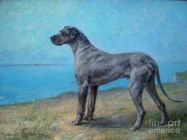 Black Great Dane Painting - Portrait Of A Great Dane by MotionAge Designs