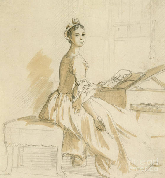 Attractive Drawing - Portrait Of A Lady At A Drawing Table by Paul Sandby