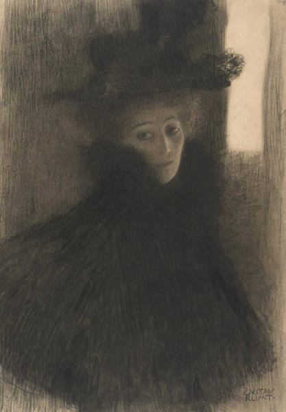 Drawing - Portrait Of A Lady With Cape And Hat  by Gustav Klimt