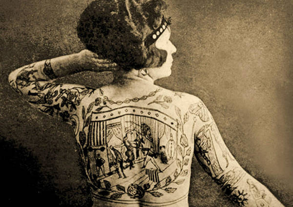 English Culture Photograph - Portrait Of A Tattooed Woman by English School