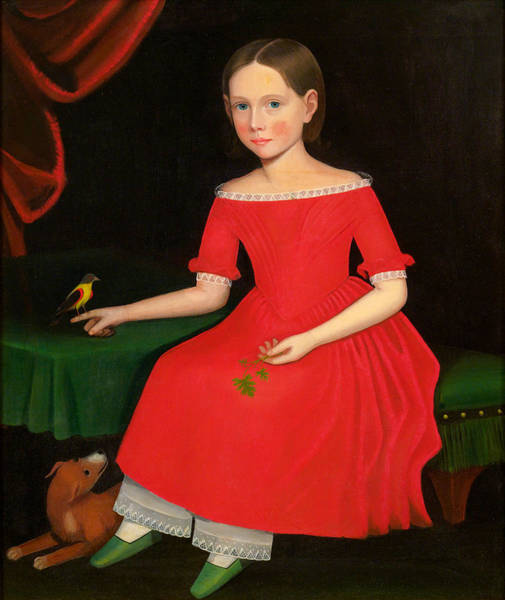 Wall Art - Painting - Portrait Of A Winsome Young Girl In Red With Green Slippers Dog And Bird by Ammi Phillips