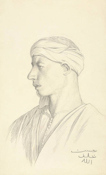 20th Century Man Drawing - Portrait Of An Egyptian Fellah by Jean-Leon Gerome