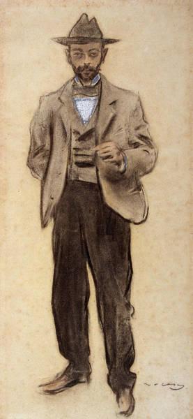 20th Century Man Drawing - Portrait Of Manolo Hugue by Ramon Casas