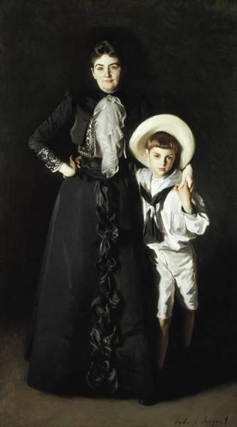 Portrait Of Mrs Edward L Davis And Her Son Livingston Davis Art Print