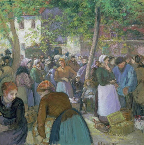 Pastel - Poultry Market At Gisors  by Camille Pissarro