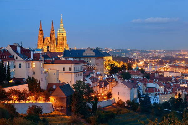 Photograph - Prague Castle At Night by Songquan Deng