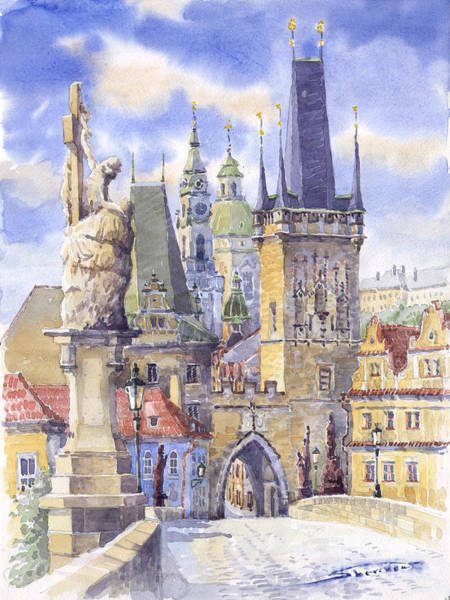 Watercolour Landscape Painting - Prague Charles Bridge by Yuriy Shevchuk