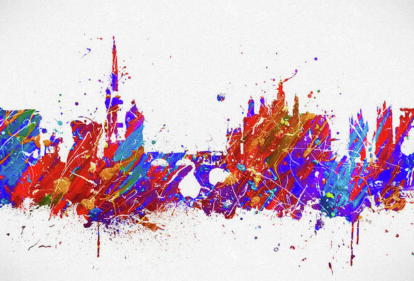 Wall Art - Painting - Prague Colorful Skyline by Dan Sproul