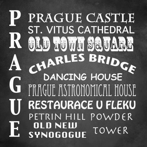 Wall Art - Digital Art - Prague Famous Landmarks by Patricia Lintner