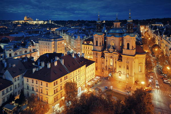 Photograph - Prague Skyline Rooftop View At Night by Songquan Deng