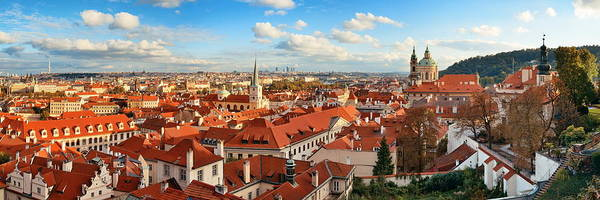 Photograph - Prague Skyline Rooftop View Panorama by Songquan Deng