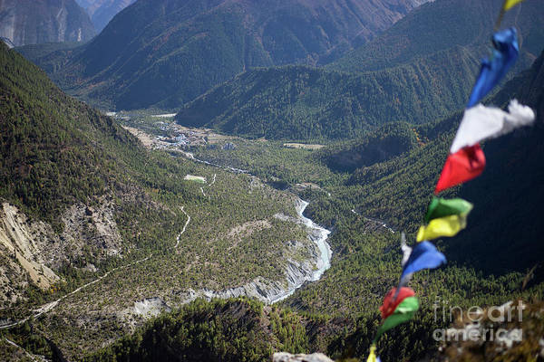 Wall Art - Photograph - Prayer Flags In The Himalaya Mountains, Annapurna Region, Nepal by Raimond Klavins