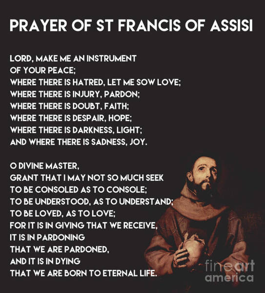 Wall Art - Painting - Prayer Of St Francis Assisi by Celestial Images