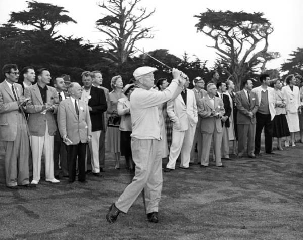 Photograph - President Eisenhower Golfing by Underwood Archives