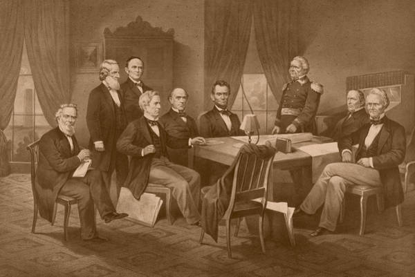 Abe Lincoln Drawing - President Lincoln - His Cabinet And General Scott by War Is Hell Store