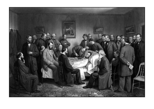 The Great Emancipator Drawing - President Lincoln's Deathbed by War Is Hell Store
