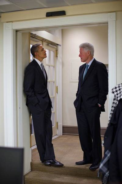 2010s Wall Art - Photograph - President Obama Talks With Former by Everett