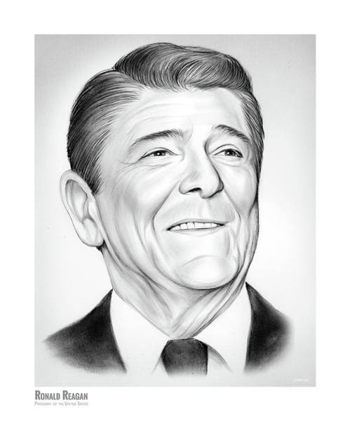 Wall Art - Drawing - President Ronald Reagan by Greg Joens