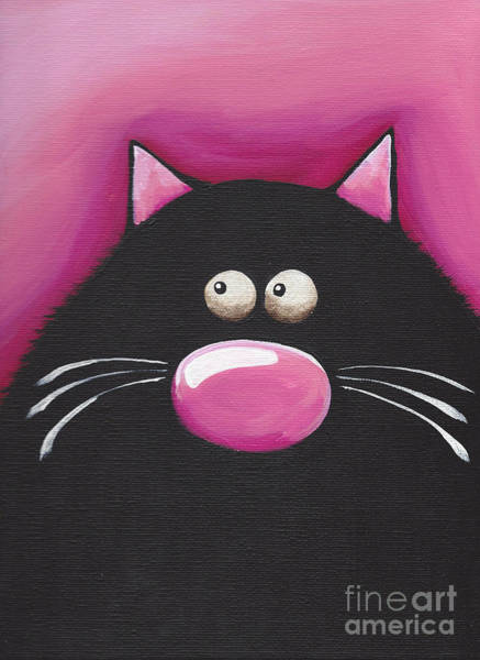Fat Cat Painting - Pretty In Pink by Lucia Stewart