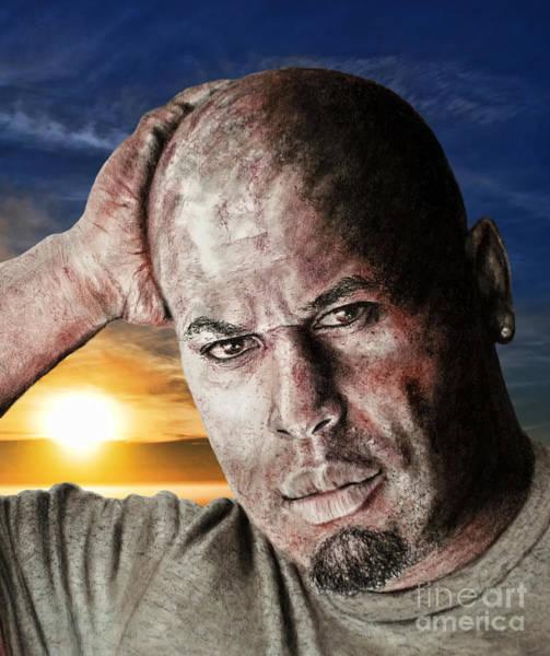Pro Wrestler Wall Art - Digital Art - Portrait Of Pro Wrestler And Owner Of Bryckhouse Pro Wrestling, Rycklon Stephens by Jim Fitzpatrick